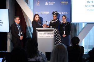 Pictured (L to R): Luiz Alberto Saboia, Executive Secretary of the Office of Public Services for Fortaleza, Patrícia Macêdo, Secretary of International Affairs for Fortaleza, Zoleka Mandela, Global Ambassador of the Child Health Initiative and granddaughter of former South African President Nelson Mandela, and Nancy Pullen-Seufert, Director of the National Center for Safe Routes to School, at the award presentation in Stockholm, Sweden, on Monday, Feb. 17.